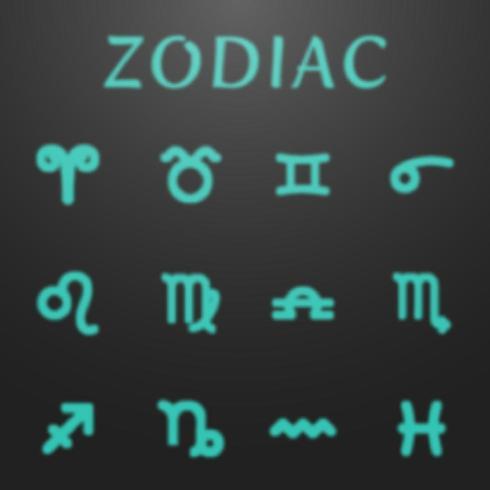 Conjunto de signos del zodiaco astrología brillante vector