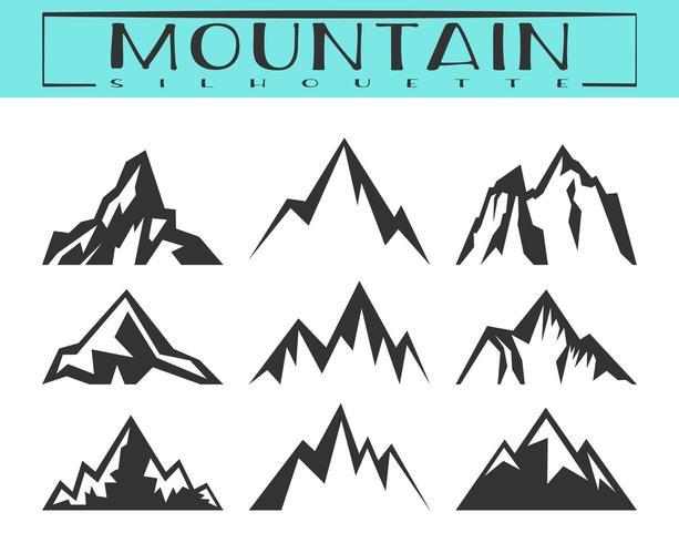 Conjunto de silhueta de montanha vetor
