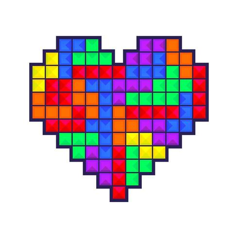 Mosaic heart colored