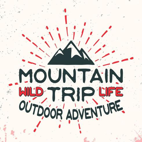 Mountain outdoor adventure vintage stamp