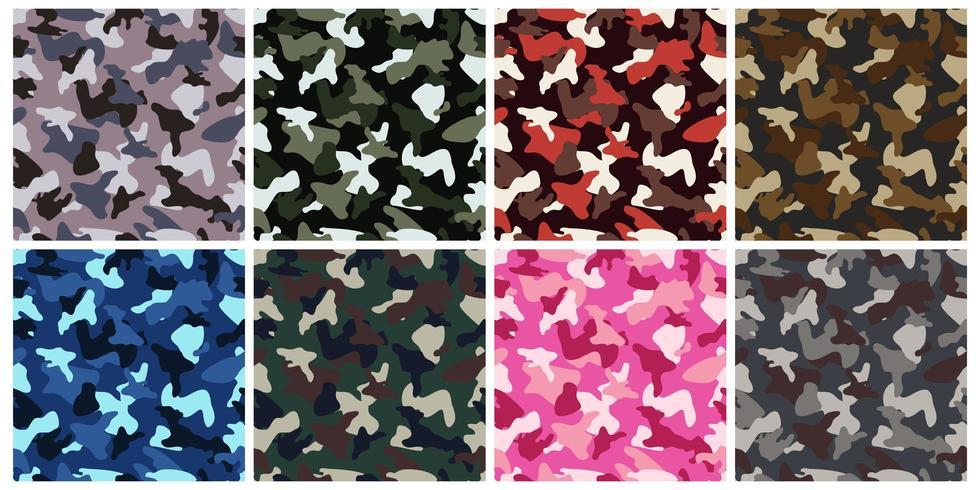 Conjunto de camuflaje ropa ejército de patrones sin fisuras vector