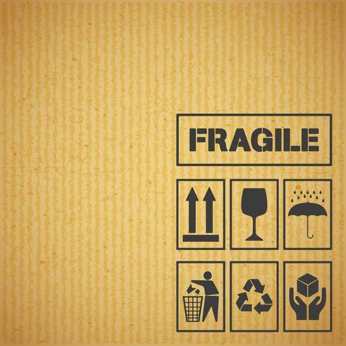 Etiquettes de manutention sur carton vecteur