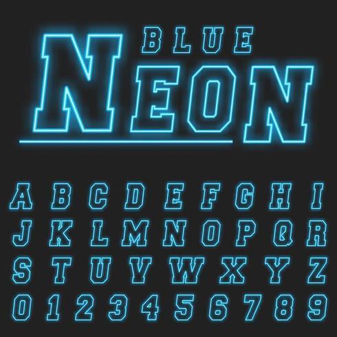 Neon alphabet font template