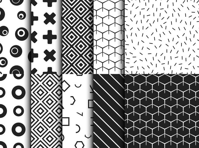 Set of trendy various geometric seamless pattern