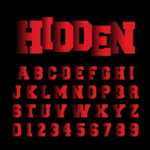 Plantilla de fuente de alfabeto oculto vector