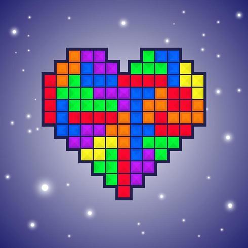 Diseño de videojuegos Heart Tetris vector
