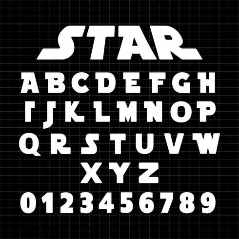 Star Alphabet font template