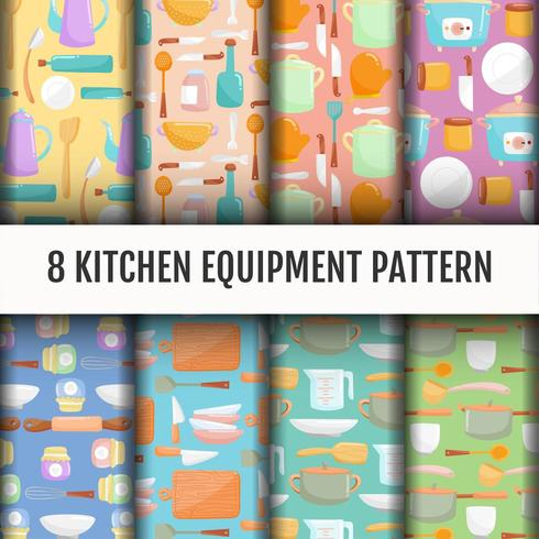 Conjunto de patrones de herramientas de cocina sin costuras vector