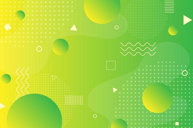 Fondo de neón amarillo y verde retro formas geométricas