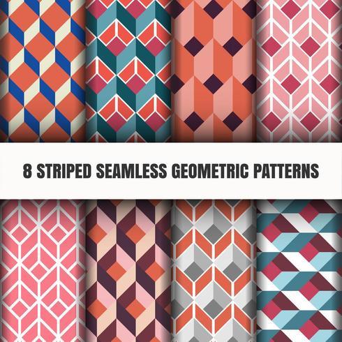 Set of striped seamless geometric tile patterns