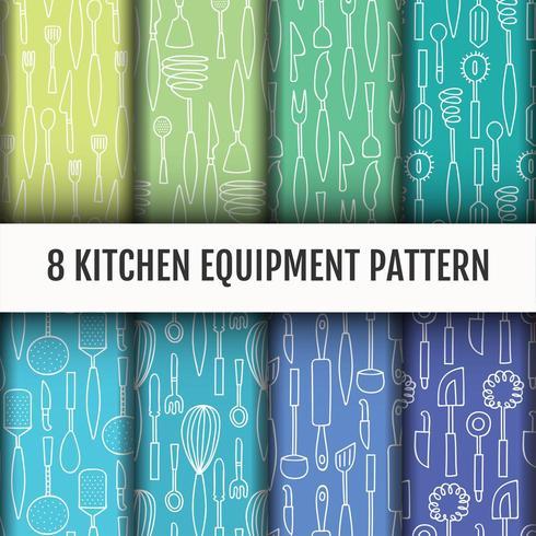 Seamless Kitchen tools pattern set