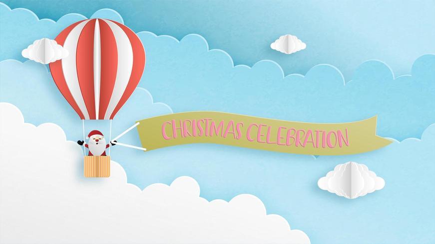 Santa Claus in hot air balloon greeting card