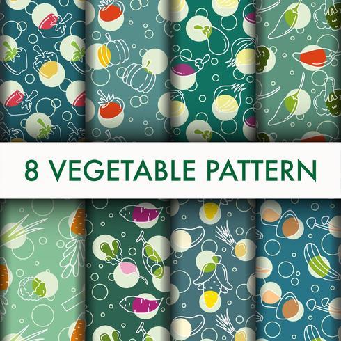 Conjunto fresco de patrones sin fisuras vegetales. vector