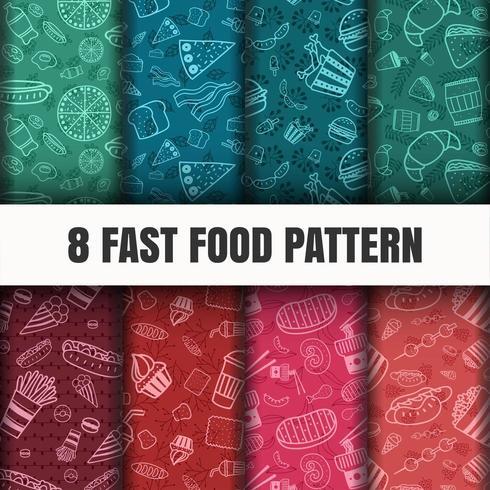 Naadloze fastfood patroon set