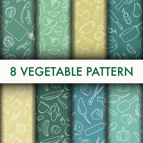 Conjunto de silueta de patrón vegetal vector