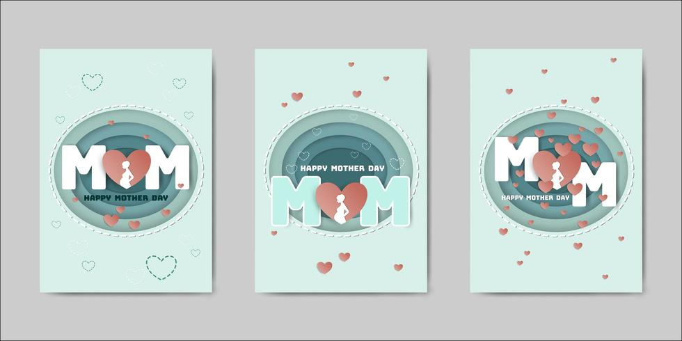Set di cartoline d'auguri di Happy Mothers Day vettore
