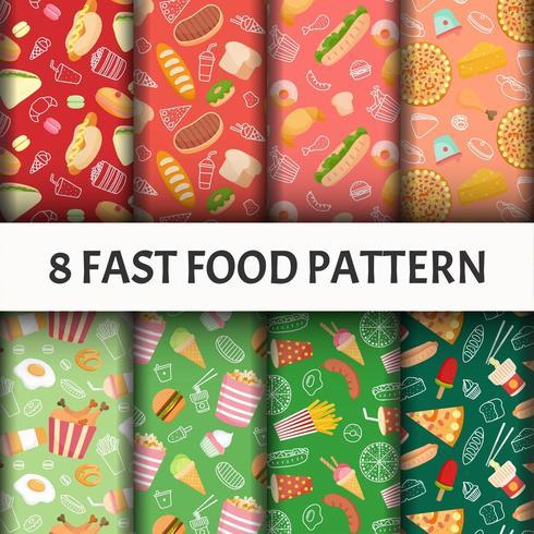 Seamless Fast food pattern set
