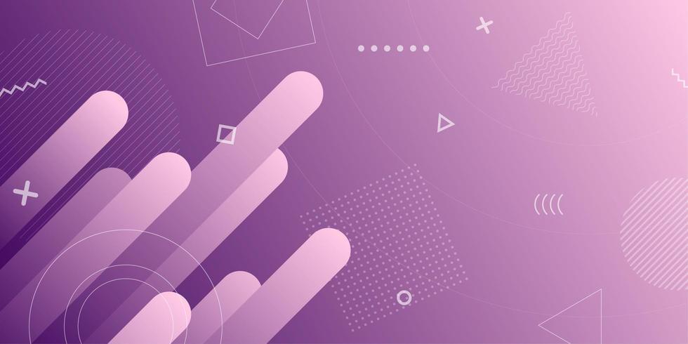 Fondo degradado púrpura retro formas geométricas vector