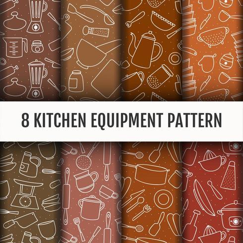 Naadloze keukengereedschap patroon set