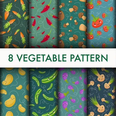 Conjunto lindo patrón vegetal vector