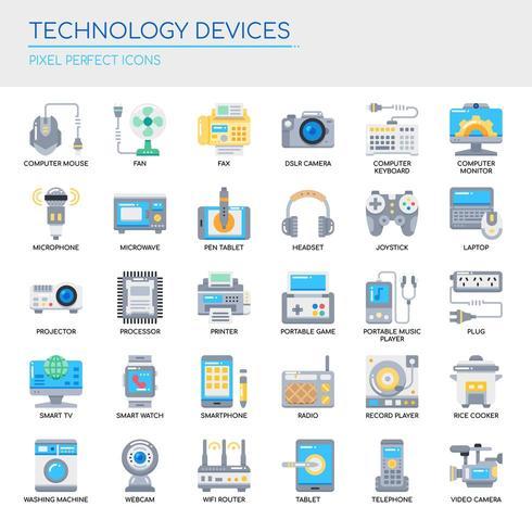 Conjunto de iconos perfectos de línea fina y píxeles de dispositivos de tecnología para cualquier proyecto web y de aplicación.