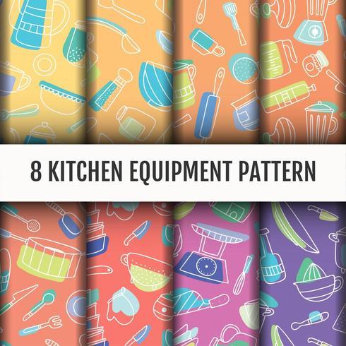 Kitchen tools pattern set