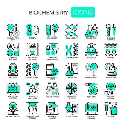 Biochemistry Elements, Thin Line et Pixel Perfect Icons vecteur