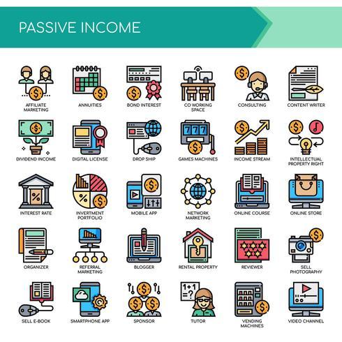 Passiva inkomster, tunn linje och perfekta ikoner för pixlar
