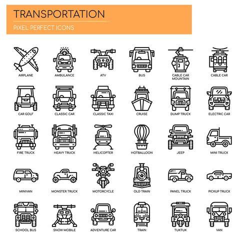 Icone di trasporto, linea sottile e pixel perfetti