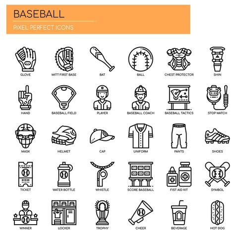 Elementos de beisebol, linha fina e ícones perfeitos de Pixel