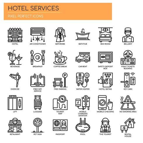 Hotelltjänster tunn linje och perfekta ikoner för pixlar