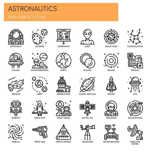 Astronáutica Thin Line y Pixel Perfect Icons