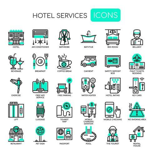 Servicios de hotel, línea fina y Pixel Perfect Icons