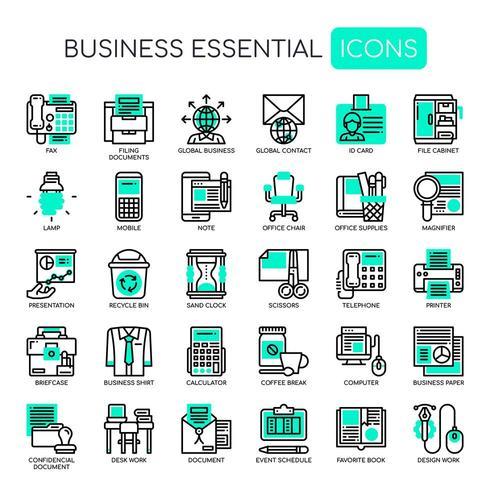 Uppsättning av Business Essential tunn linje och pixel perfekta ikoner för alla webb- och app-projekt.