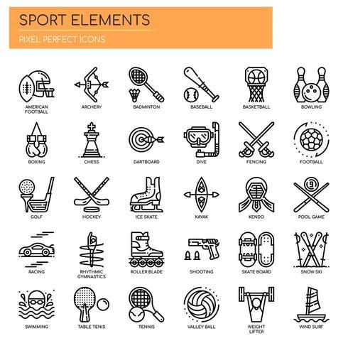 Sportelementen Dunne lijn en pixel perfecte pictogrammen
