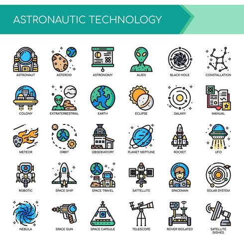 Astronáutica Thin Line y Pixel Perfect Icons vector
