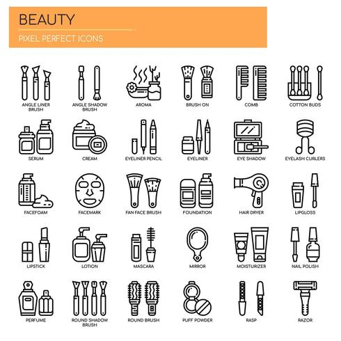 Beauty, Thin Line et Pixel Perfect Icons vecteur