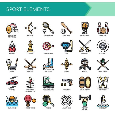 Sport Elements Thin Line and Pixel Perfect Icons