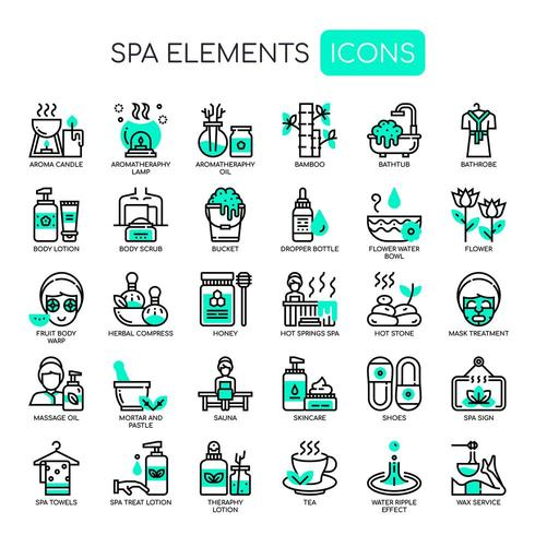 Spa Elements Thin Line et Pixel Perfect Icons vecteur