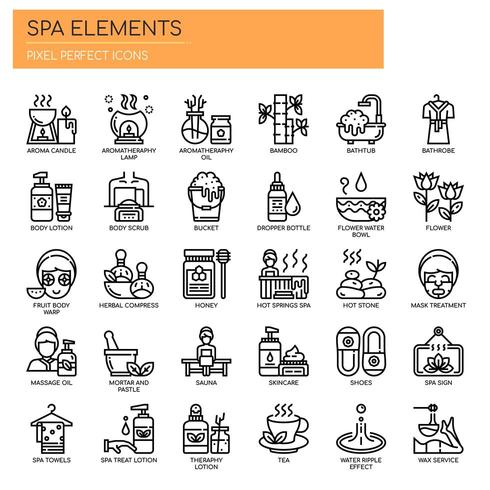 Spa-Elemente dünne Linie und Pixel perfekte Symbole