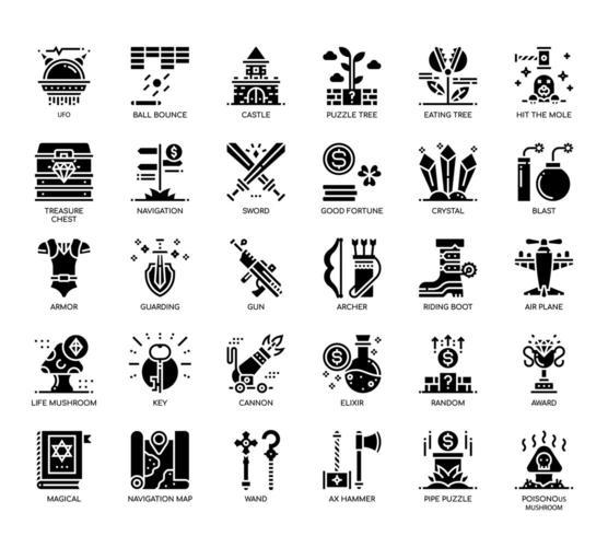 Elementos do jogo, ícones de glifo