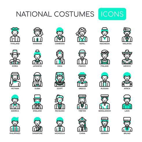 Nationale kostuums, dunne lijn en pixel perfecte pictogrammen