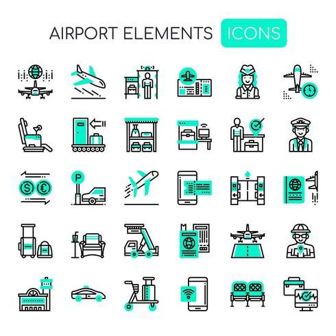 Ícones de aeroporto, linha fina e ícones perfeitos de Pixel