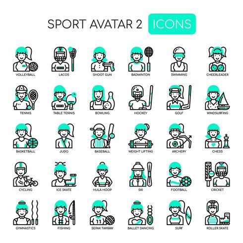 Avatars Sportgirl, Thin Line et Pixel Perfect Icons vecteur