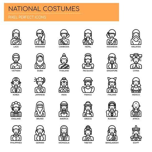 Costumi nazionali, linea sottile e icone pixel perfette