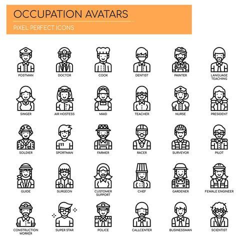 Avatar di occupazione Icone sottili e pixel perfetti vettore