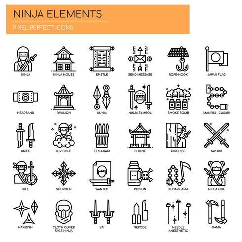 Ninja Elements, Thin Line y Pixel Perfect Icons vector