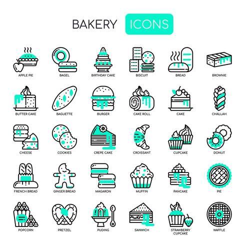 Bagerier, tunn linje och perfekta ikoner för pixlar vektor