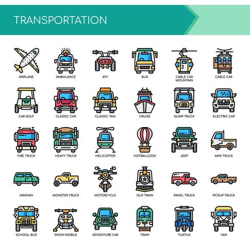 Transport, dünne Linie und Pixel Perfect Icons vektor