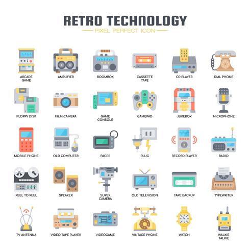 Retro-Technologie, dünne Linie und Pixel Perfect Icons